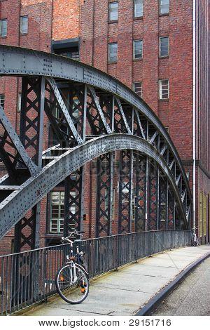 a bike on a bridge in hamburg