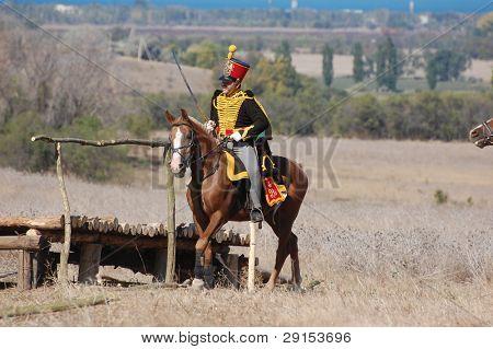 Hussar. Russian cavalry. Kiev's hussar regiment uniform. Crimean War time