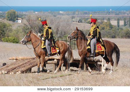 Hussars. Russian cavalry. Kiev's hussar regiment uniform. Crimean War time