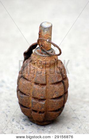 Old rusted Soviet World War II hand grenade F-1