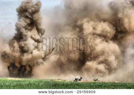 HDR.Explosion. WW2 reenacting. Kiev,Ukraine