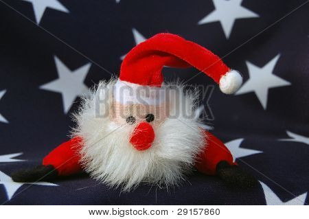 American flag and hand made Santa