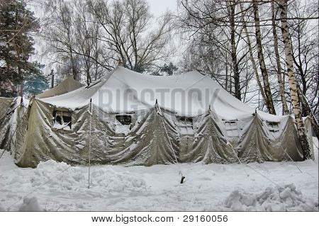 Soviet military tent in snow.Historical reenacting of WW2. Kiev,Ukraine