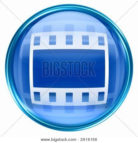 Film Icon Blue, Isolated On White Background.