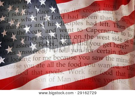 Holy Bible on USA Flag