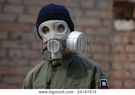 man in a protective mask