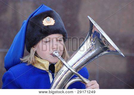 KIEV - MAY 7: Brass ensemble performs during meeting of World War II veterans, before V-day on May 7, 2010 in Kiev, Ukraine
