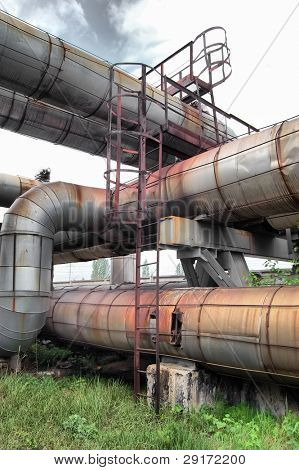 Pipes and tubes at a power plant. Kiev, Malorussia (Ukraine)