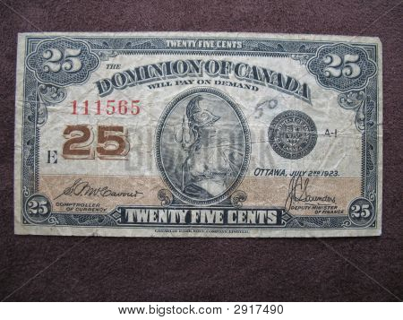 Money Shin Plaster Twenty Five Cent