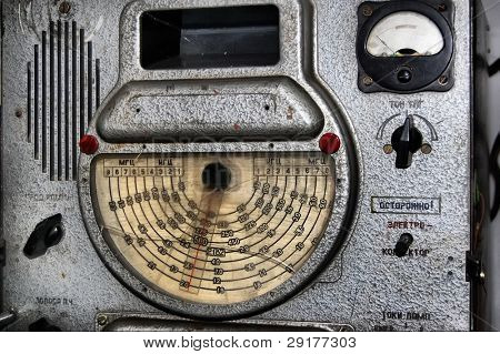 Higher technological school. Kiev,Ukraine. Museum of  technology.Soviet military  radio of 1960-th