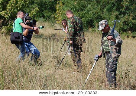 KIEV, UKRAINE - SEP 11: Members of Ukrainian Federation of Metal Searchin Sport on the First Ukrainian Competition of Treasure Hunting, September 11, 2010 in Kiev, Ukraine
