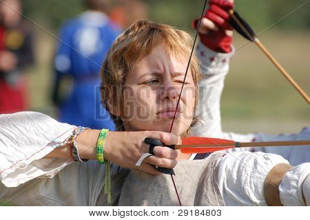 KIEV, UKRAINE - SEP 19: Unidentified participant of Festivale of medieval costume wears historical costume Sep 19, 2010 in Kiev, Ukraine