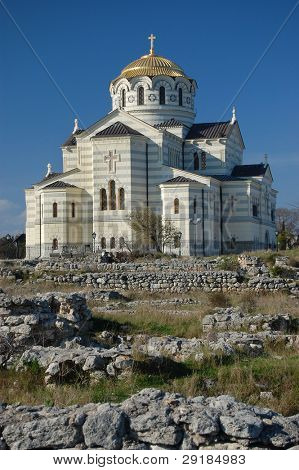 St. Vladimir's Cathedral, Chersonese. It is one of the city's major landmarks and the mother cathedral Russian Orthodox Church