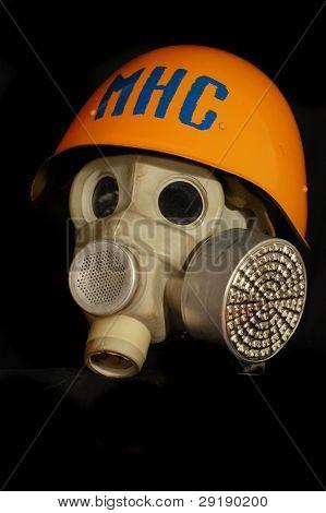 Soviet battle helmet. (M40)(1940) Painted for Ukrainian Emergency Ministry & gas mask