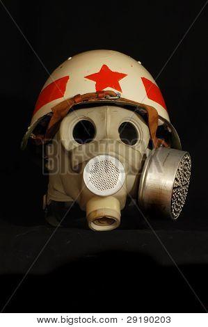 Soviet battle helmet. (M40)(1940) Painted for Military Police & gas mask