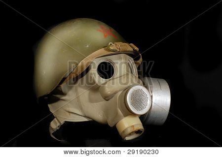 Soviet battle helmet. (M40)(1940) & gas mask