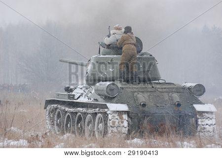 KIEV, UKRAINE - FEB 20: Members of military history club RedStar wear historical Soviet uniform during historical reenactment of WWII,February 20, 2011 in Kiev, Ukraine