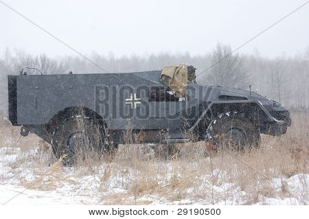 KIEV, UKRAINE - FEB 20: German armored truck during historical reenactment of 1945 WWII, ,February 20, 2011 in Kiev, Ukraine