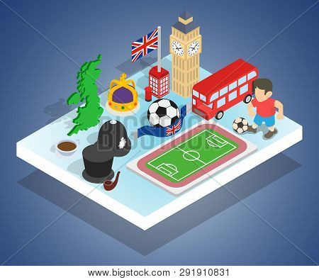 England Concept Banner Isometric Banner