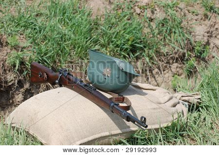 KIEV, UKRAINE - MAY 8 : Red Star military history club. German munition and weapon replica during historical reenactment of WWII on May 8, 2011 in Kiev, Ukraine