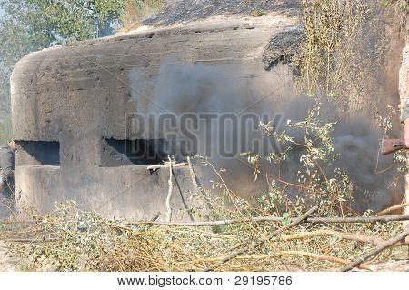 KIEV, UKRAINE -SEPT 18: Pillbox, Part of Kiev defense line in WW2 time (Line of Stalin) during historical reenactment of WWII, September 18, 2011 in Kiev, Ukraine