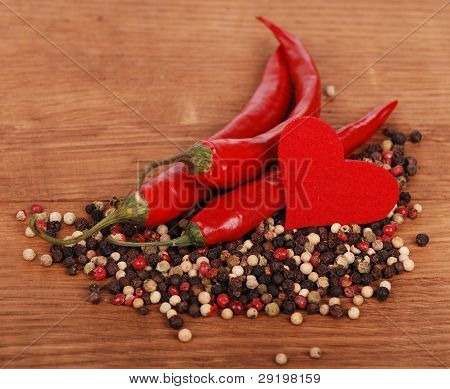 peppers with heart symbol