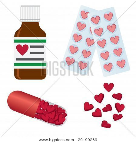 Pills With Shapes Of Heart.
