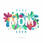 Modern Template Design For Mom Day Banner. Promotion Layout For Mothers Day Offer With Flower Decora poster