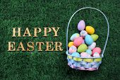 Easter egg basket with Happy Easter text on grass poster