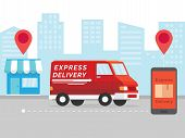 Delivery Service App On Mobile Phone. Delivery Service App On Mobile Phone. Cargo Service And Mobile poster