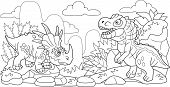 Cartoon Cute Prehistoric Dinosaurs, Coloring Book, Funny Illustration poster