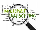 picture of newsletter  - Magnified illustration with the word Internet Marketing on white background - JPG