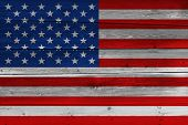 United States Of America Flag Painted On Old Wood Plank. Patriotic Background. National Flag Of Unit poster