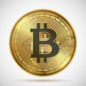 Bitcoin Coin. Cryptocurrency Golden Money Digital Blockchain Symbol Isolated On White. Vector Crypto poster