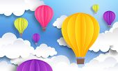 Paper Cut Balloons. Sky Pastel Background, Cute Origami Cartoon Graphic, Flight Voyage Concept. Vect poster