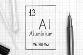 The Periodic Table Of Elements. Handwriting Chemical Element Aluminium Al With Black Pen, Test Tube  poster