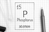 The Periodic Table Of Elements. Handwriting Chemical Element Phosphorus P With Black Pen, Test Tube  poster