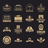 Heating Cooling Logo Icons Set. Simple Illustration Of 16 Heating Cooling Logo Icons For Web poster