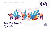 Music Festival In India Landing Page. Musician Playing Musical Instrument Dhol, Drum, Flute And Sita poster