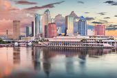 Tampa, Florida, USA downtown skyline on the bay at dawn.  poster