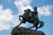 pic of hetman  - Famous monument to Ukrainian hetman in downtown Kiev - JPG
