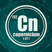 Copernicium Chemical Element. Sign With Atomic Number And Atomic Weight. Chemical Element Of Periodi poster