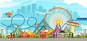 Amusement Park, Carousel Swing, Circus Tents On City Landscape Background, Fan Fire Show, Carnival V poster