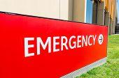 Red Emergency Sign Outside A Hospital Emergency Department In Bendigo, Australia. poster