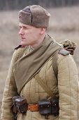 stock photo of vinnitsa  - Person in historical Soviet uniform as he participates in a WWII reenactment in Vinnitsa - JPG