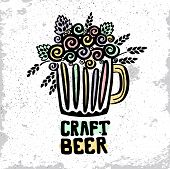Craft Beer Hand Drawn Element. Outline Black Icon Of Craft Beer Concept. Craft Beer Poster, Banner F poster