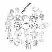 Countryside Icons Set. Outline Set Of 25 Countryside Icons For Web Isolated On White Background poster