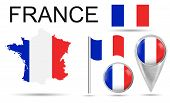 France. Flag, Map Pointer, Button, Waving Flag, Symbol, Flat Icon And Map Of France In The Colors Of poster