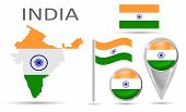 Collection Flag India. National Flag, Map Pointer, Button, Symbol, Flat Icon And Map Of India In The poster