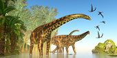 Spinophorosaurus Dinosaur Marsh 3d Illustration - Dorygnathus Reptile Birds Fly Close To A Spinophor poster